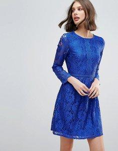 Read more about Uttam boutique lace detail skater dress - blue