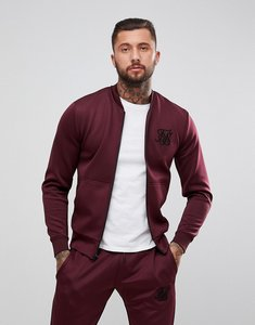 Read more about Siksilk track bomber jacket in burgundy - burgundy