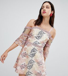 Read more about Dolly delicious all over embroidered off shoulder mini dress - multi