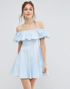 Read more about Qed london off shoulder frill dress - pale blue