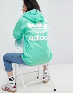 Read more about Adidas originals nova oversized three stripe pullover jacket in green - green