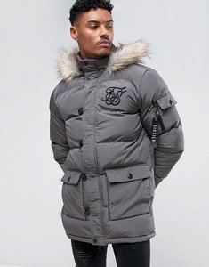 Read more about Siksilk puffer parka in grey with faux fur hood - grey