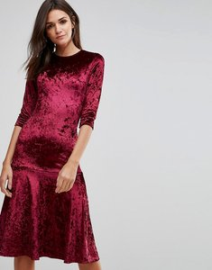 Read more about Club l crushed velvet peplum hem midi dress - berry crushed
