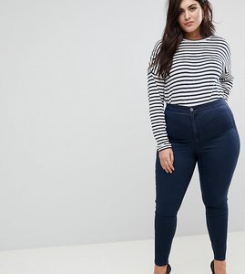 Read more about Asos design curve ridley high waist skinny jeans in blue black wash - mid wash blue
