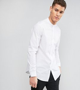 Read more about Asos tall regular fit longline shirt with grandad collar in white - white
