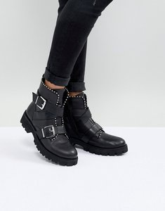 Read more about Steve madden hoofy stud detail buckle boot - black leather