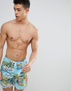 Read more about Polo ralph lauren traveller hawaiian landscape print swim shorts player logo in blue - landscape haw
