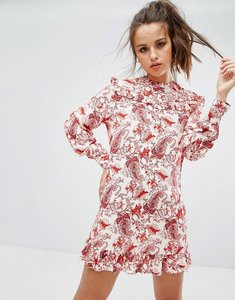 Read more about Prettylittlething printed cheesecloth frill shift dress - red
