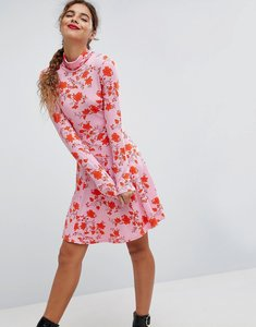 Read more about Asos polo neck mini dress with godets in floral print - floral print