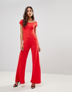 Read more about Oh my love flare bardot jumpsuit - red
