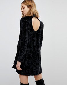Read more about Nytt elizabeth long sleeved crushed velvet dress - black