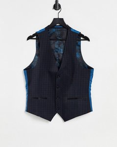 Read more about Harry brown tile jacquard skinny fit suit dinner waistcoat - navy