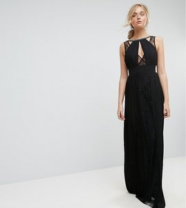 Read more about Tfnc tall high neck embellished maxi dress with lace insert - black