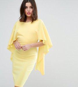 Read more about City goddess midi dress with ruffle sleeve - pale lemon 54