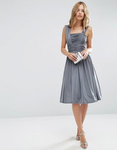 Read more about Asos wedding slinky ruched midi dress - grey