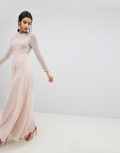 Read more about Asos design premium pearl embellished long sleeve maxi dress - nude