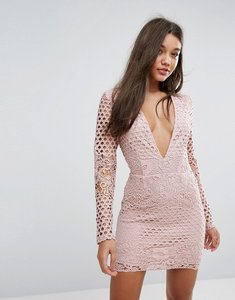 Read more about Missguided lace sleeve plunge bodycon dress - mauve