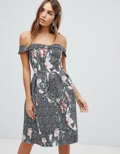 Read more about Dolly delicious bardot full prom midi dress with pockets in floral print - check