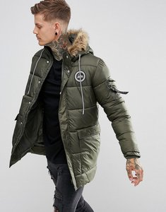 Read more about Hype padded parka in khaki with faux fur hood - khaki
