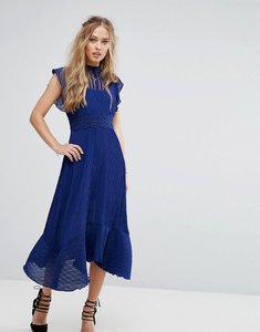 Read more about Foxiedox midi dress with crochet waist - royal blue