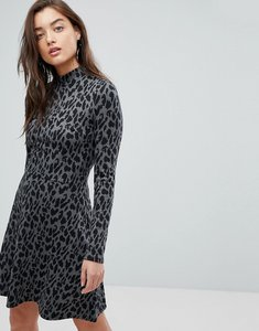 Read more about Warehouse animal print knitted mini dress - grey