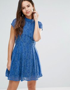 Read more about Louche nichole lace dress with embellished neckline - blue