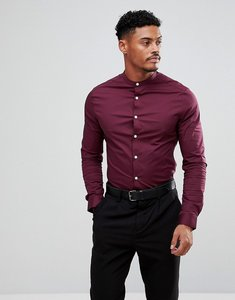 Read more about Asos design skinny shirt in burgundy with grandad collar - burgundy