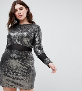 Read more about Asos curve all over sequin with mesh inserts mini dress - black