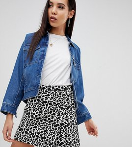 Read more about Asos design tall animal mini jacquard wrap skirt with buckle