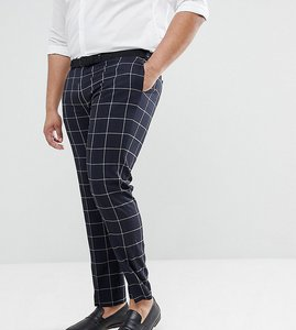 Read more about Asos plus wedding skinny suit trousers in navy windowpane check - navy