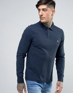 Read more about Original penguin winston pique polo long sleeve slim fit in navy - dark sapphire