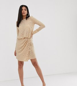 Read more about Flounce london tall wrap front mini dress with statement shoulder in gold sequin