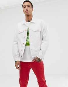 Read more about Asos design oversized denim jacket with check in white - white