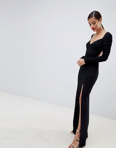 Read more about Asos design ruched sleeve open back sweetheart neck maxi dress - black