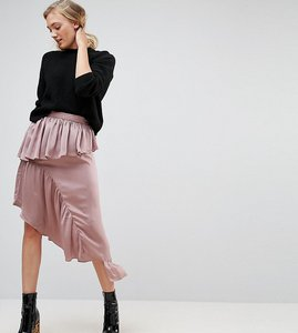 Read more about Asos tall deconstructed midi skirt in satin - dusty mauve