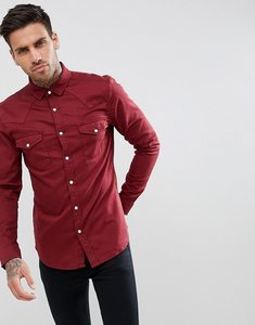 Read more about Asos skinny denim western shirt in burgundy - burgundy