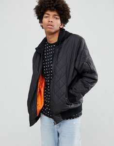 Read more about Yourturn quilted bomber jacket in black with jersey hood - black