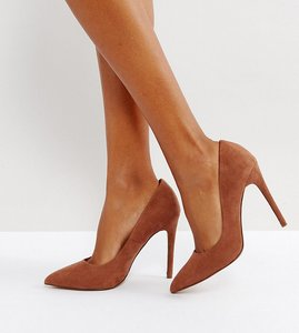 Read more about Asos paris wide fit pointed high heels - mocha