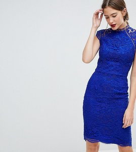 Read more about Chi chi london tall scallop lace pencil dress - cobalt