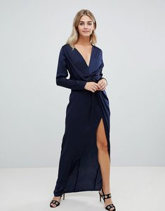 Read more about Missguided wrap satin side split maxi dress in navy - navy