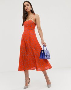 Read more about Fashion union structured midi dress with tie sleeves in floral