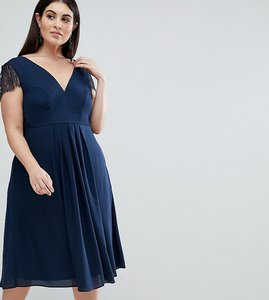Read more about Asos curve kate lace cowl back midi dress - navy