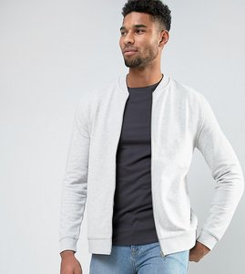 Read more about Asos tall jersey bomber jacket in grey marl - grey marl