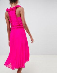 Read more about Asos design midi dress with pleated ruffle - bright pink