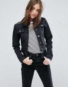 Read more about Asos denim shrunken jacket in washed black - washed black