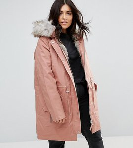 Read more about Asos curve parka with detachable faux fur liner - pink