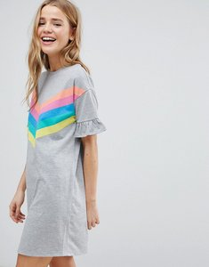 Read more about Asos t-shirt dress with frill cuffs and rainbow stripes - rainbow stripe