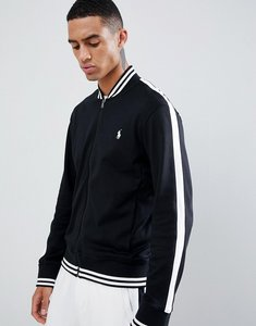 Read more about Polo ralph lauren player logo bomber sweat jacket tipped side taping in black - polo black