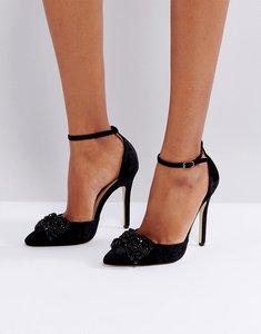 Read more about London rebel bow two part velvet point high heels - blk velvet blk bow