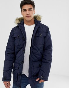 Read more about Brave soul quilted parka jacket with faux fur trim hood - navy
